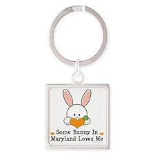 MarylandSomeBunnyLovesMe Square Keychain
