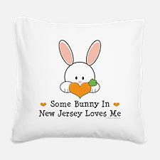 NewJerseySomeBunnyLovesMe Square Canvas Pillow