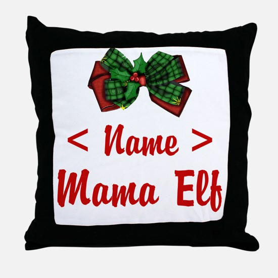Personalized Mama Elf Throw Pillow
