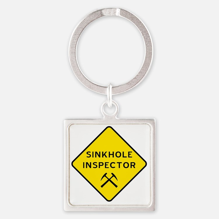 Sinkhole Inspector Square Keychain