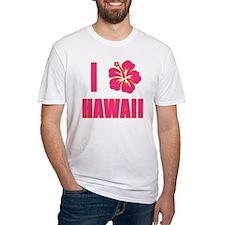 I Love Hawaii with Pink Hibiscus Shirt