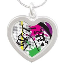 colorful grunge dance Silver Heart Necklace