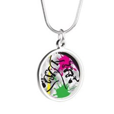 colorful grunge dance Silver Round Necklace