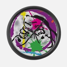 colorful grunge dance Large Wall Clock