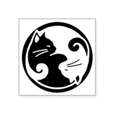 "yin-yang-cat Square Sticker 3"" x 3"""