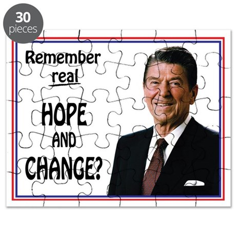 Reagan HOPE CHANGE - WHITE Puzzle