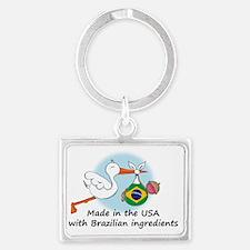 stork baby brazil 2 Landscape Keychain