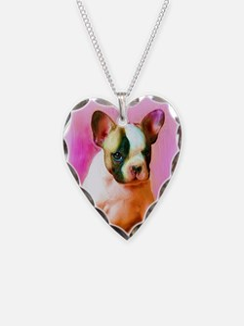 happy_birthday_french_bulldog Necklace Heart Charm