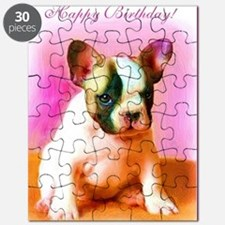 happy_birthday_french_bulldog_art_greeting_ Puzzle