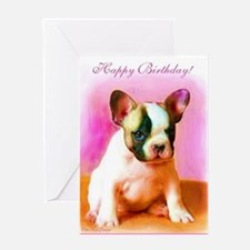 happy_birthday_french_bulldog_art_gr Greeting Card