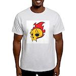 Flaming Devil Skull Tattoo Ash Grey T-Shirt