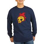 Flaming Devil Skull Tattoo Long Sleeve Dark T-Shir
