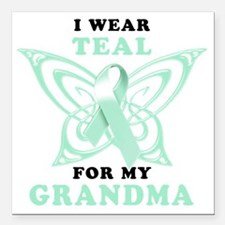 """I Wear Teal for my Grand Square Car Magnet 3"""" x 3"""""""
