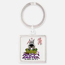 SchnauzerEasterShirt2 Square Keychain