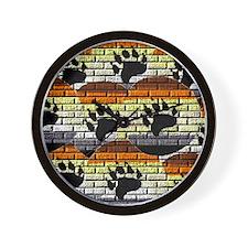 BEAR PRIDE COLORED BRICK WALL Wall Clock