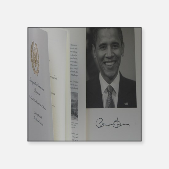 "Barack Obama Official Progr Square Sticker 3"" x 3"""
