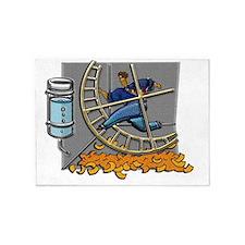 Business man on hamster wheel Small 5'x7'Area Rug