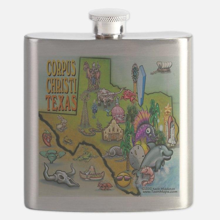 Corpus Christi TEXAS Map CF Tee Flask