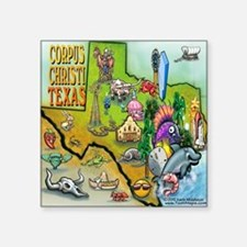 "Corpus Christi TEXAS Map CF Square Sticker 3"" x 3"""