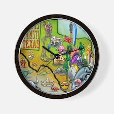 Corpus Christi TEXAS Map CF Tee Wall Clock