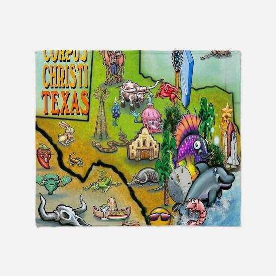 Corpus Christi TEXAS Map CF Tee Throw Blanket