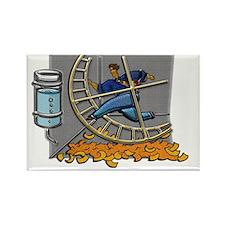 Business man on hamster wheel gre Rectangle Magnet