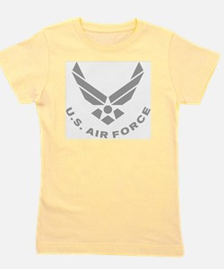 USAF-Symbol-Gray-With-Curved-Text Girl's Tee