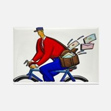 Bike Messenger Wearing Red White  Rectangle Magnet