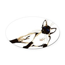 Kicked Back Siamese Trans Oval Car Magnet
