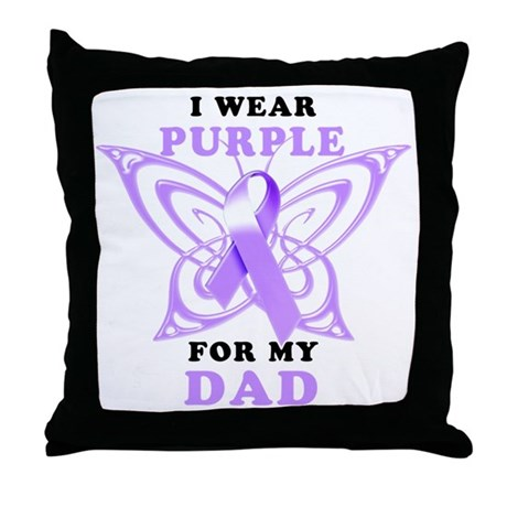 I Wear Purple for my Dad Throw Pillow