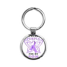 I Wear Purple for my Son Round Keychain