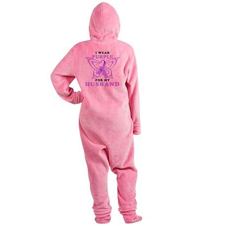I Wear Purple for my Husband Footed Pajamas