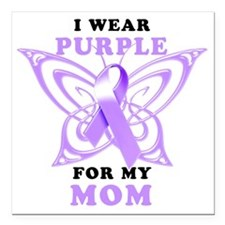 """I Wear Purple for my Mom Square Car Magnet 3"""" x 3"""""""