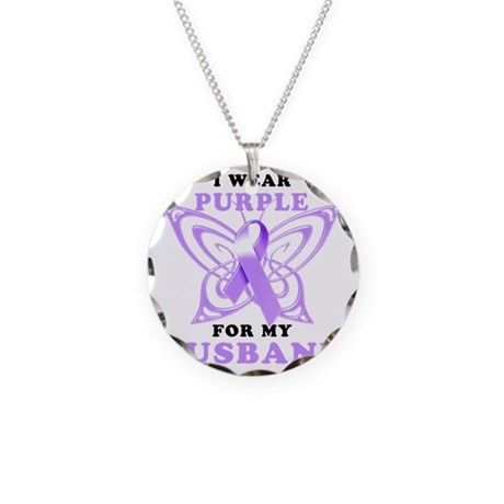I Wear Purple for my Husband Necklace Circle Charm