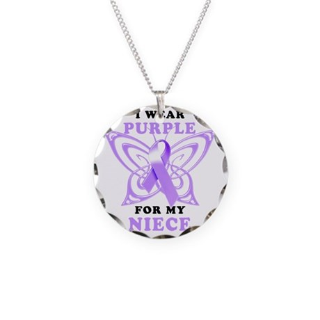 I Wear Purple for my Niece Necklace Circle Charm