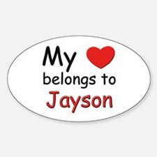 My heart belongs to jayson Oval Decal