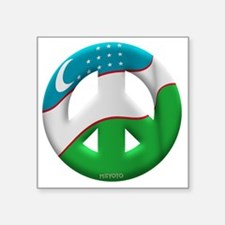 "Uzbekistan Square Sticker 3"" x 3"""