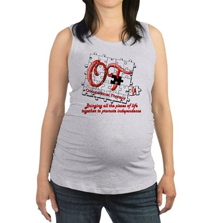 ot puzzle red Maternity Tank Top