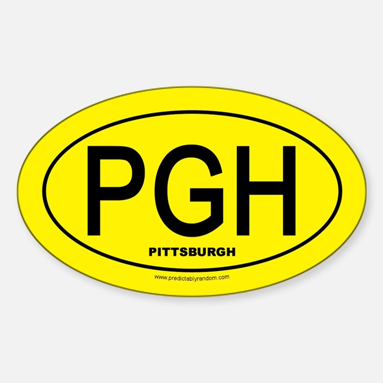 Pittsburgh - Black on Gold Oval - Decal