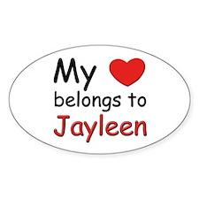 My heart belongs to jayleen Oval Decal