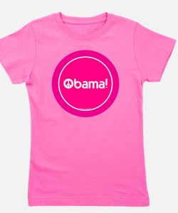 2-btn-obamapeace-pink Girl's Tee