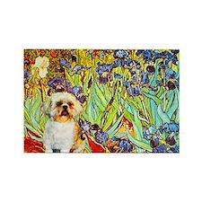 Shih Tzu Fine Art Van Gogh Iris Rectangle Magnet