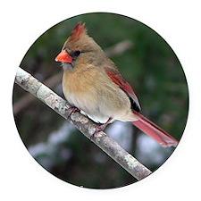 Female Cardinal Round Car Magnet