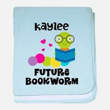 Personalized Future Bookworm Reading baby blanket
