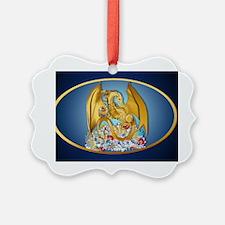 Big Gold Dragon and Globe-oval_st Ornament