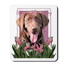 PinkTulips_Chocolate_Labrador Mousepad