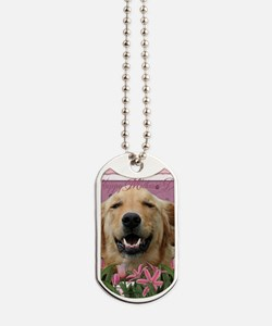 PinkTulips_Golden_Retriever Dog Tags