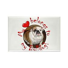 My Heart Belongs to my Bulldo Rectangle Magnet