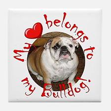 My Heart Belongs to my Bulldo Tile Coaster