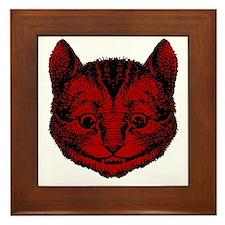 Cheshire Cat Red Fill Framed Tile